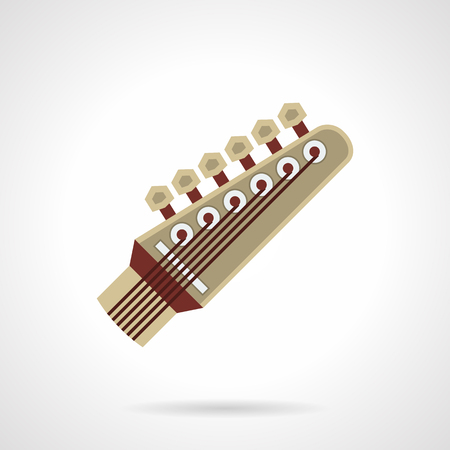 headstock: Six-strings guitar neck head with pegs. Symbol of headstock. Stringed musical instruments for rock, blues performing. Flat color style vector icon. Illustration