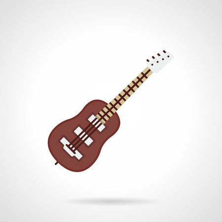 Brown classic bass-guitar with four strings. Musical instruments concept. Music store, quality equipment for musicians. Flat color style vector icon. Illustration