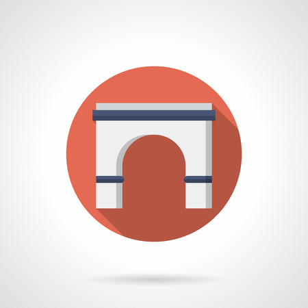 arched: Stone semicircular arch with long shadow. Classic arched building entrance, decorative facade element, gates and doorway. Red round flat color design vector icon.