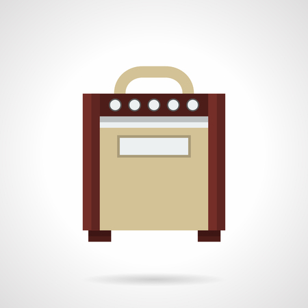 solo: Retro style brown amp for electric guitars. Professional musical equipment. Sound control on concert stage, solo performance. Flat color design vector icon.