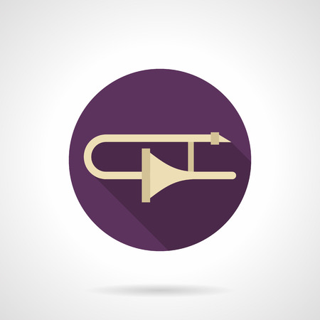 solo: Symbol of golden trombone with long shadow. Brass wind musical instrument. Symphony orchestra and jazz music. Solo performance on concerts and studio. Round purple flat design vector icon.