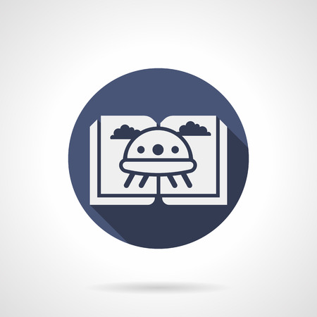 visitors: White silhouette of open book with UFO. Stories about visitors from outer space. Genre of childrens fiction literature. Round blue flat design vector icon.