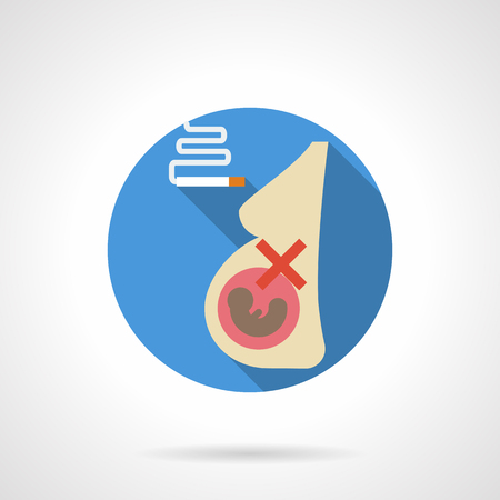 smoking woman: Pregnant woman and cigarette with smoke. Unhealthy lifestyle. Careless and bad attitude of smoking mother with big harm for fetus. Round flat color design vector icon.