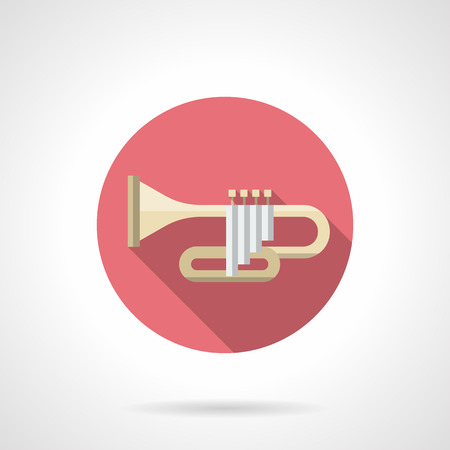 brass wind: Symbol of trumpet with long shadow. Brass wind instruments. Orchestral concerts of classical music. Jazz band. Round pink flat design vector icon.