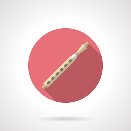 woodwind: Symbol of block flute. Woodwind musical instruments. Soprano, oboe, clarinet, pipe and others. Round pink flat design vector icon.