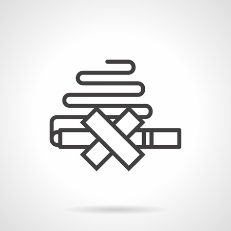 killing cancer: Abstract no smoking sign. Symbol for get rid of nicotine addiction. Life without tobacco concept. Black simple line style design vector icon. Illustration