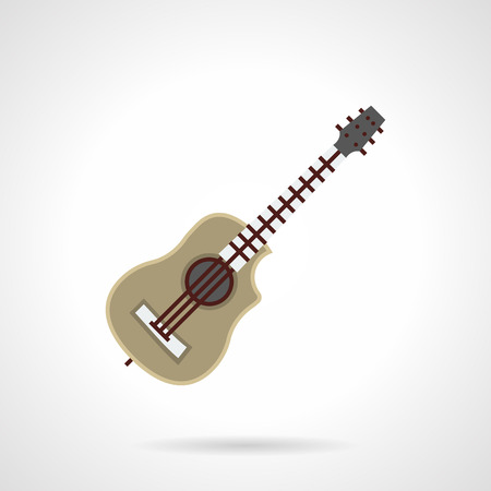 stringed: Kinds of stringed musical instruments. Classic acoustic six-string guitar. Good present for musician. Music hobby. Flat color style vector icon. Illustration