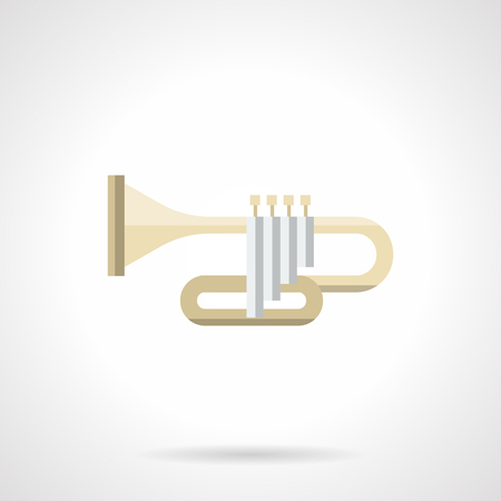 solo: Symbol of brass musical instrument - trumpet. Concerts of classical music, symphonic orchestras and jazz bands. Solo performance. Flat color style vector icon.
