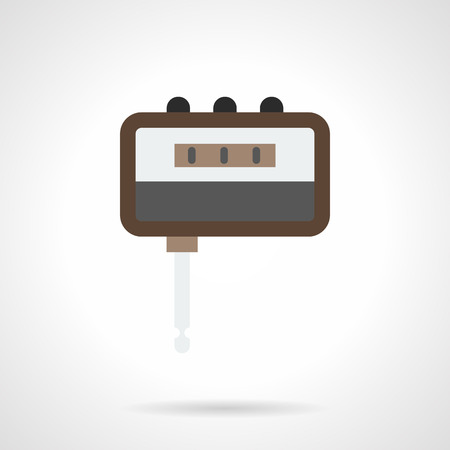overdrive: Portable headphone amp tool. Digital tuner. Electronic music accessories for rehearsals before concert, playing guitar at home. Flat color style vector icon. Illustration