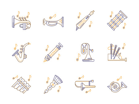 woodwind: Brass and woodwind musical instruments and notes. French horn, flute, bagpipes, trumpet and others. Melody and tunes of orchestra, jazz. Set of stylish flat color line vector icons. Illustration
