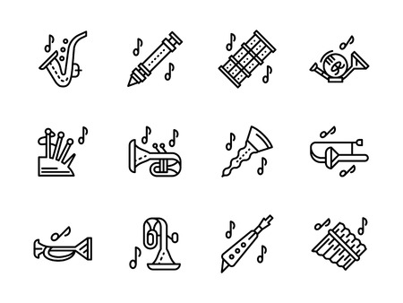 soprano saxophone: Music of brass and woodwind instruments. Abstract symbols for musical store, festival, entertainment. Collection of simple black line design vector icons. Vectores