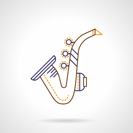 woodwind: Saxophone thin line abstract symbol. Jazz sax sign, music brass and woodwind instruments. Color flat linear vector icon. Illustration