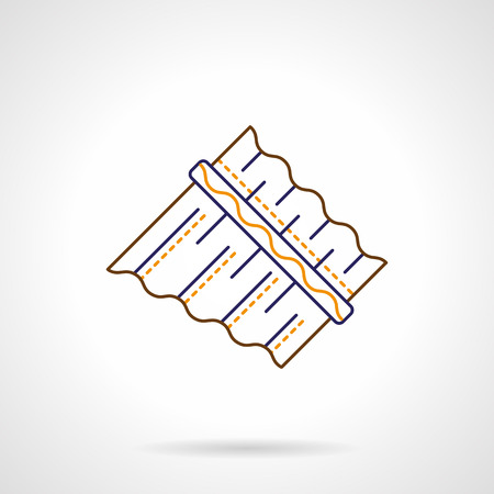 panpipe: Abstract symbol of panpipe or pan flute. Unusual and ethnic musical instruments, creative ideas. Color flat line vector icon.