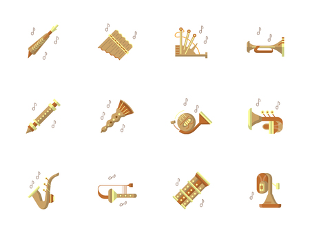 soprano saxophone: Tunes of brass and woodwind musical instruments. Classical and ethnic music, jazz and pop, festivals and concerts. Set of stylish flat color round vector icons. Vectores