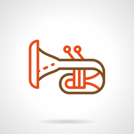 woodwind: Abstract symbol of trumpet or bugle on white background. Brass and woodwind musical instruments theme. Element of orchestra, jazz, music festival. Color simple line style vector icon.