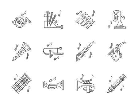 woodwind: Musical brass and woodwind instruments. Orchestral melodies and tunes. French horn, bagpipes, panpipe and other. Set of black flat line design vector icons. Illustration