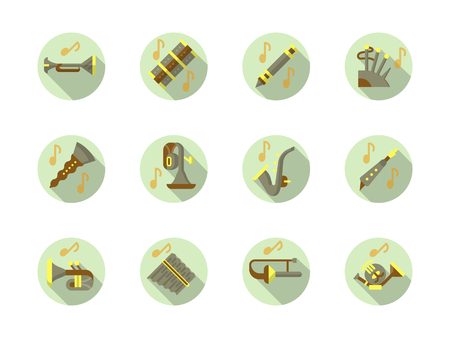 woodwind: Brass and woodwind instruments music. Concerts, festivals and classical musical entertainment. Collection of stylish flat color round vector icons.