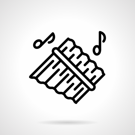 Pan flute simple black line vector icon