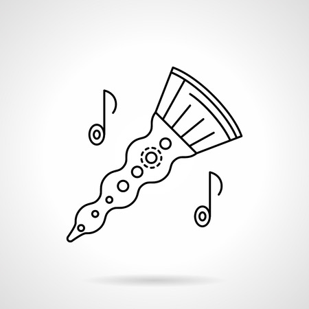 woodwind: Woodwind horn flat line vector icon Illustration
