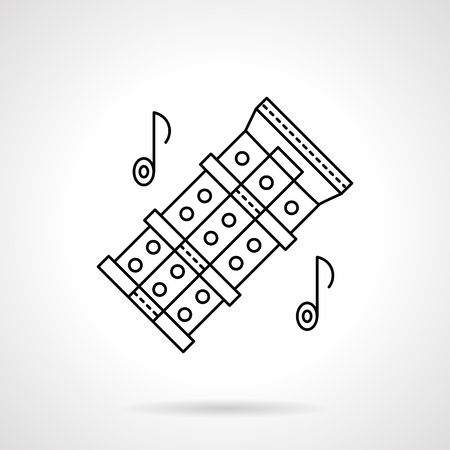 tunes: Chinese flute tunes flat line vector icon