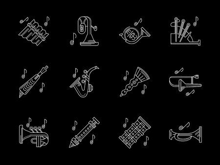 zampona: instrumentos de viento almacenan línea blanca iconos vectoriales Vectores