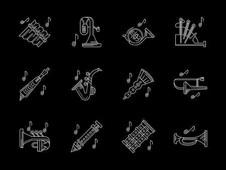 panpipe: Wind instruments store white line vector icons