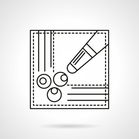 pool game: Symbol of billiard table corner with three balls in hole and cue. Pool game scores, free kick sign. Sport and activity leisure concept. Flat black line vector icon. Illustration
