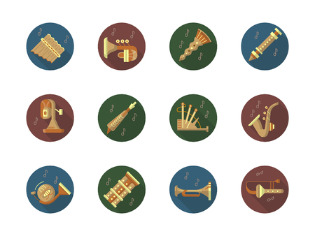 Round color vector icons set for music instruments Illustration