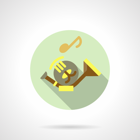 Tenorhorn flat round vector icon