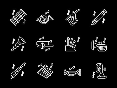 Woodwind music tune white simple line vector icons Illustration