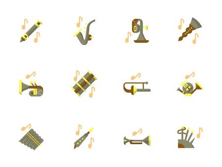 Stylish flat design wind instruments vector icons Illustration