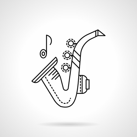 tenor: Brass melodies flat line vector icon. Sax