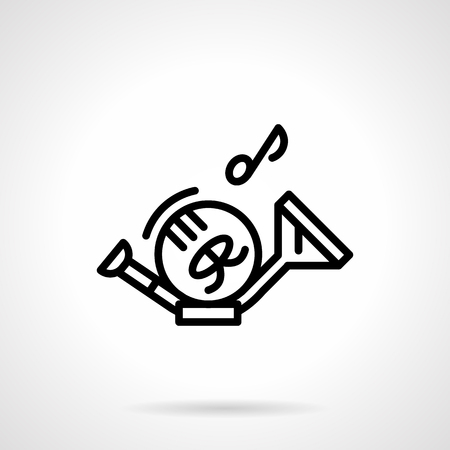 saxhorn: French horn and note simple line vector icon