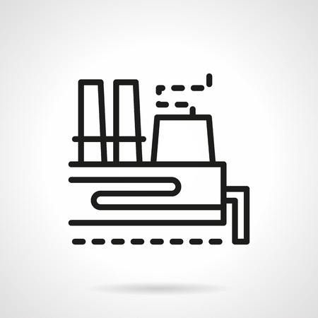 coal power station: Symbol of coal plant or station. Industrial producing of energy and power, processing of natural resources. Black simple line design vector icon.