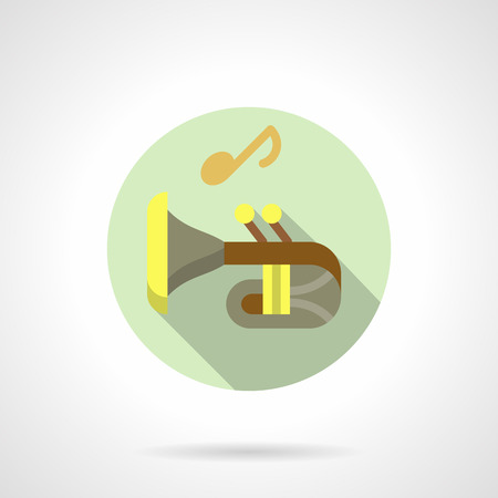 Music lessons. Trumpet flat round vector icon