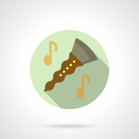 woodwind: Music lessons. Clarinet flat round vector icon
