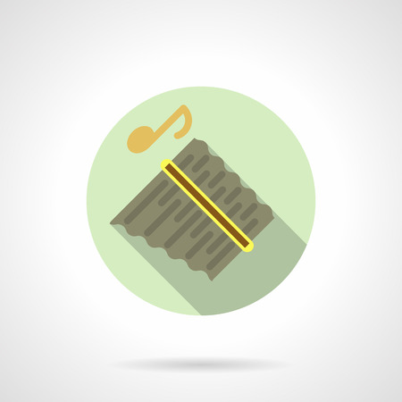Music lessons. Panpipes flat round vector icon Illustration