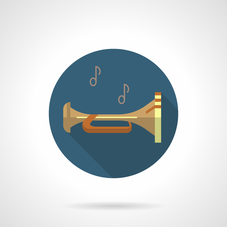 brass wind: Brass wind instruments. Bugle round vector icon