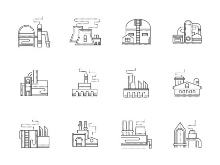 Industrial buildings flat line vector icons set