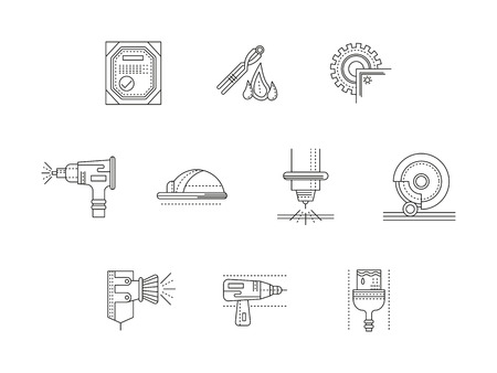 metalworking: Metalworking flat line vector icons set Illustration