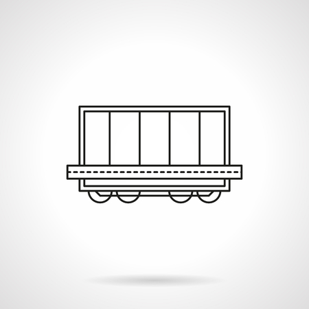boxcar: Rail platform with container flat line vector icon Illustration