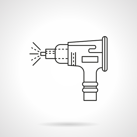 Sandblasting nozzle flat line vector icon