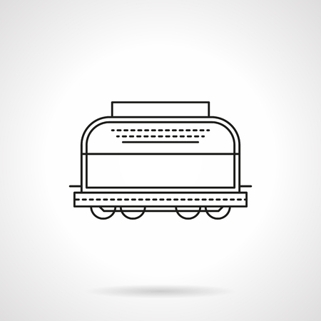 boxcar: Refrigerated boxcar flat line vector icon Illustration