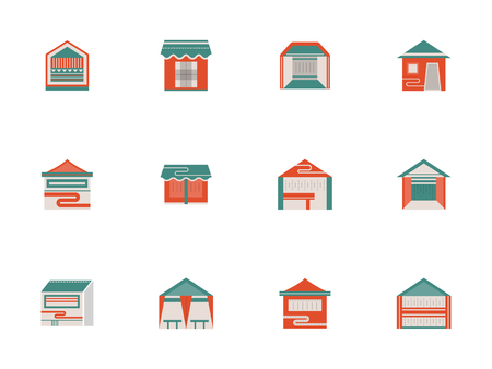 overhang: Trade and exhibition tents flat color vector icons