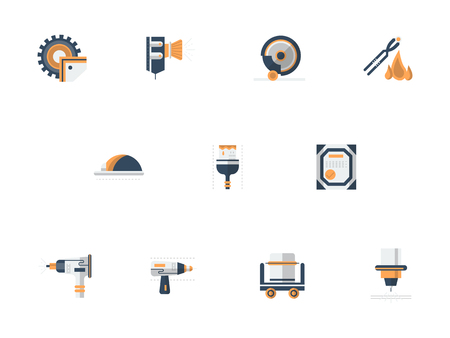 Metall-Verarbeitung Ausrüstung flach Vektor-Icons gesetzt