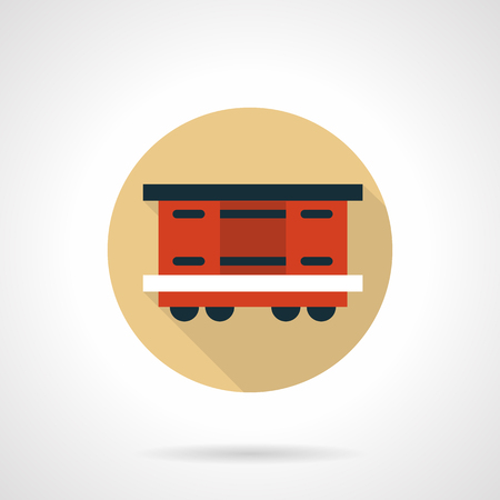boxcar: Covered wagon beige round vector icon Illustration