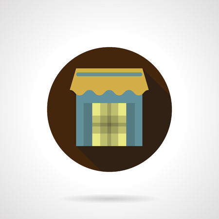 vitrine: Trade stall flat brown round vector icon
