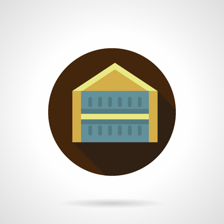 overhang: Trade pavilion flat brown round vector icon