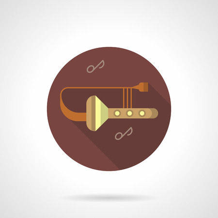 orchestral: Trombone tunes flat brown round vector icon Illustration