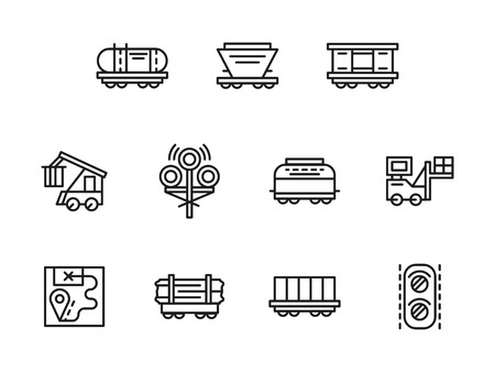 boxcar: Railroad logistics black line vector icons set